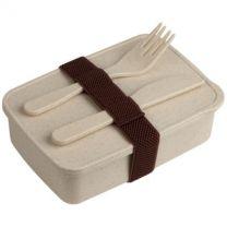 Bambusowe pudełko śniadaniowe 850 ml, sztućce, z nadrukiem logo - V8831-00 - Agencja Point
