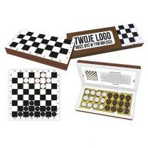 Bombonierka - czekoladowe warcaby w pudełku z nadrukiem logo - BOM29 - Agencja Point