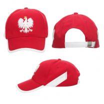 """Czerwona czapka z białym orłem """"POLSKA"""", z nadrukiem reklamowym - CZAP-P9 - Agencja Point"""
