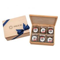 Elegancki, reklamowy zestaw herbat w drewnianej skrzynce z logo - HER10 - Agencja Point
