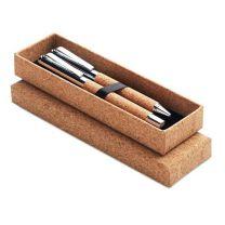Korkowy zestaw do pisania - pióro i długopis z nadrukiem reklamowym - MO9678-40 - Agencja Point