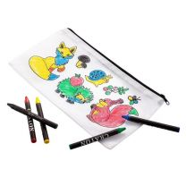 Reklamowy zestaw do kolorowania Happy Kids, przybory szkolne 65 el. - R73781 - Agencja Point