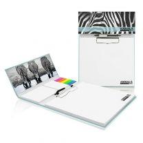 Reklamowy zestaw konferencyjny z klipem i długopisem w twardej oprawie full color - PM125 - Agencja Point