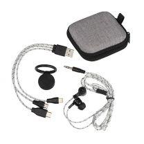 Reklamowy zestaw podróżny: kabel, słuchawki, uchwyt do telefonu z logo - 3097007 - Agencja Point