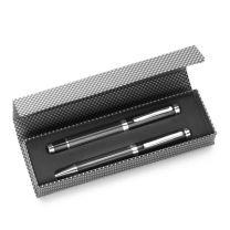 Zestaw piśmienny w ozdobnym etui z magnetycznym zamknięciem, długopis i pióro kulkowe